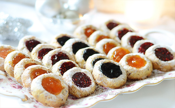 Thumbprint Cookies Raspberry Blueberry And Apricot Jam