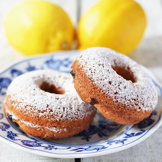 lemon buttermilk blueberry doughnuts