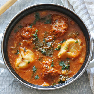Italian Meatball and Tortellini Soup with Spinach